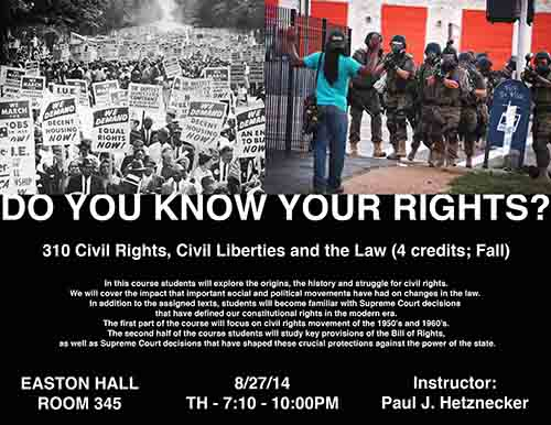 Paul Hetznecker Teaching Civil Rights, Liberties, and Law Poster